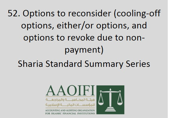 Options to reconsider (cooling-off options, either/or options, and options to revoke due to non-payment)